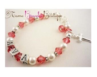 First Communion Bracelet, baptism bracelet Girl Name Gift / padparadascha swarovski pink crystals / Christening Cross Baby pearl sterling