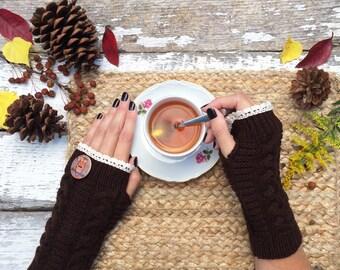 Fingerless Gloves, Knit Fingerless Gloves, Owl Gloves, Brown Fingerless Gloves, Half Finger Gloves, Fall Gloves, Mittens, Lace Gloves