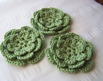 Crochet flower 3 inch pima cotton green motif set of 3