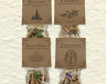 Higher Mind Incense Cones, w/ Gem Essences, 4 Blend Combo, Amber, Sage, Rose, Palo Santo