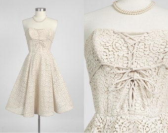 1950s vintage HATTIE CARNEGIE party dress * cotton lace + faille * laced bustier bodice * wedding designer couture * XS 5S876