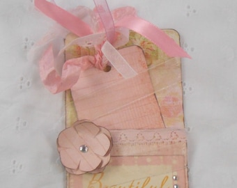 Handmade tag and holder journaling tag paper flowers ribbons lace pink white cardstock scrapbooking tags