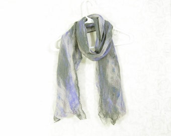 Cobweb Felted Scarf Wool Scarf Gift for Her Winter Scarf Fall Scarf Womens Scarf Lightweight Scarf Gift for Mom Gray Lavender Purple OOAK