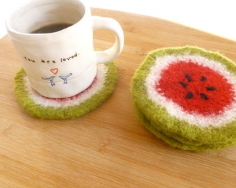 Watermelon coasters felted wool coasters design set of four mug rugs ready to ship