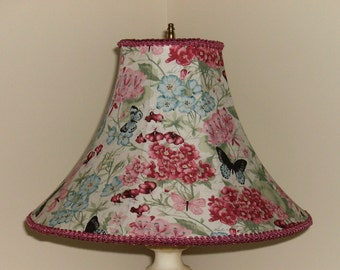 Pink and Blue Floral Lampshade