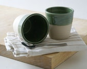 SECONDS SALE - Set of two stoneware pottery beakers in forest green