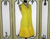 1970's does 1920's Drop Waist Summer Dress in Yellow from Fran and Chiz. Small to Medium.
