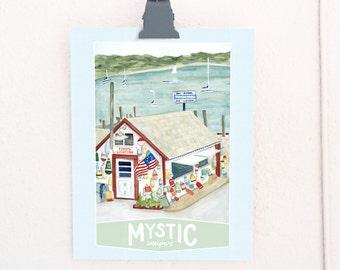 Mystic Seaport, Connecticut Travel Poster art print of an original watercolor illustration