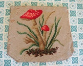 Wonderful Vintage Red SPottem Mushroom Needlepoint