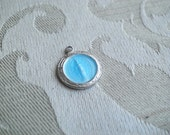 Small Vintage STERLING Blue Virgin Mary Miraculous Medal Wrist Watch Medal