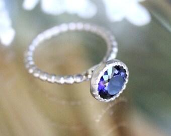 Iolite 14K Palladium White Gold Engagement Ring, Gemstone Ring, Stacking Ring, Milgrain Inspired, Eco Friendly, Recycled - Made To Order