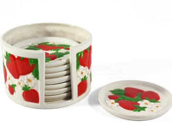 Set of 8 Vintage Ceramic Strawberry Drink Coasters