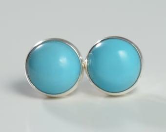 turquoise 7mm sterling silver stud earrings