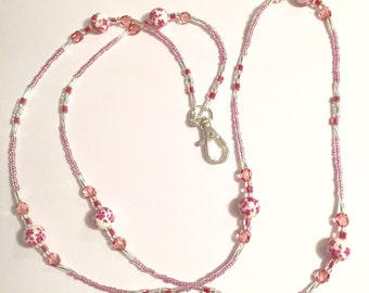 Pink and Crystal Glass Beaded Flowered Lanyard ID Holder