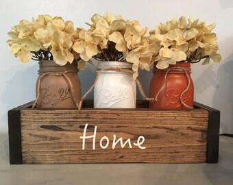 mason jar decor, fall centerpiece, mantle decor, planter box, wooden table box, wedding table, farmhouse decor, reclaimed wood, home decor