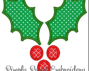 Christmas Holly Machine Embroidery Applique Design 2 sizes