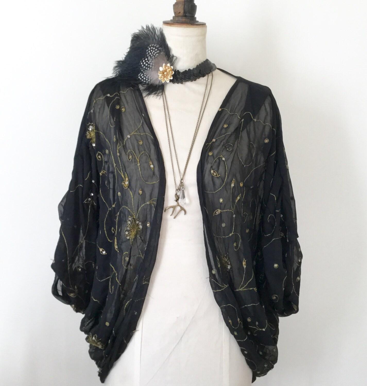 1920's Shrug 1920's Vintage Black Kimono Flapper