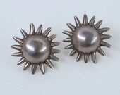 Vintage sterling silver sun burst pierced earrings / silver patina domed suns button earrings