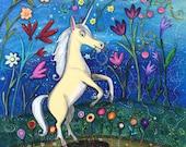 White Unicorn in Fanciful Garden Pop Art Happyart Painting