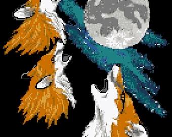 Three Fox Moon Cross Stitch Pattern PDF