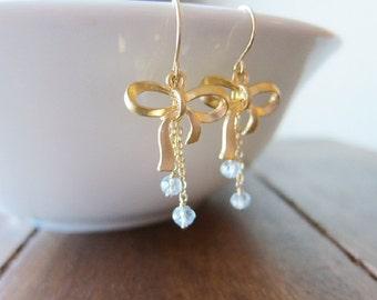 Aquamarine & Gold Dangle Bow Earrings