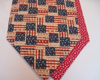 American Flag Table Runner 72 inch Reversible Red White and Blue Old Glory Waving Flag Table Runner Red Stars