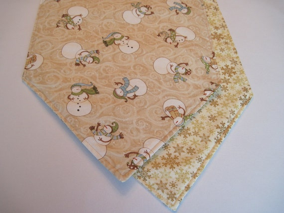 White Snowman Table Runner 72 Inch Reversible By