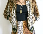 RESERVED Leopard Skirt / Furry Leopard Skirt and Jacket 2 Piece / Leopard Jacket Sz XS / S