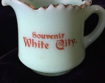 Vintage White City Custard Glass Pitcher