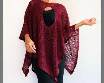 Tunic Poncho Convertible Design Knitted Winter Fashion Accessory Tunic Coverup  Available Colors Burgundy Navy Black Beige Cream Olive Green