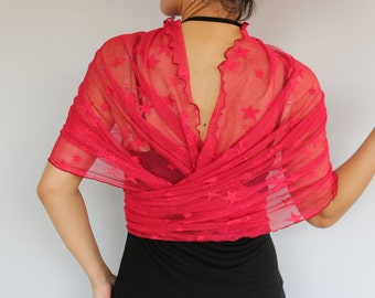 Red Tulle Shawl Wrap Bolero Shrug Bridesmaids Plus Size Elastic Wrap, Evening Dress Cover-up Scarf, Christmas Gift Wedding Festive Fashion
