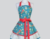 Ruffled Retro Apron / Ranunculus Fabric Design in Rosey Red Flowers and Blue Birds Cute Full Kitchen Apron Personalize or Monogram
