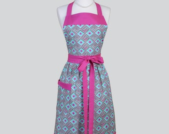 Classic Bib Apron / Modern Teal and Pink Womans Chef Apron Ideal for Personalized or Monogrammed Gift for Her