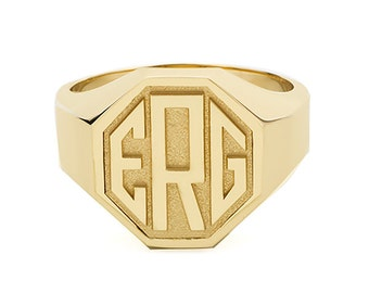 Men's Octagon Monogram Ring in 14k Gold | Custom Graduation Ring