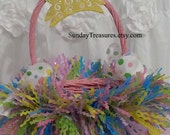 TUTU Easter Basket / Spring Decor / Rabbit Bunny / First Easter Birthday / Personalized Vintage Easter Bunny Gift Tag / Ready To Ship