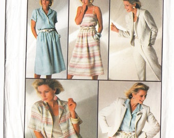 Classic 1985 Simplicity 7272 UNCUT Sewing Pattern Misses' Pants, Skirt, Shirt, Camisole and Unlined Jacket Size 12 Bust 34