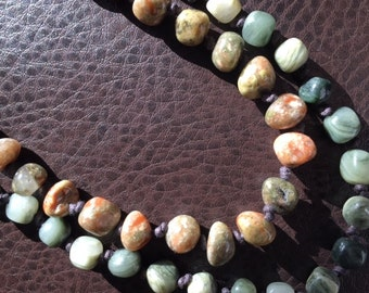 Autumn Jasper Beaded Necklace Long Necklace