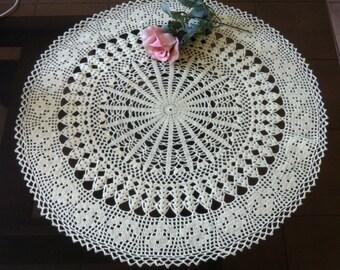 D-25. Large Doily 24.4 inch Light Ecru Doily MANDALA Crochet Doilies Round Doily Lace Doily Large Hand Crocheted Lace Doily