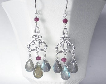 Labradorite Earrings, Gemstone Chandelier Earrings, Labradorite and Ruby Earrings, Sterling Silver