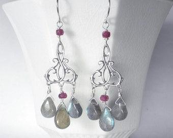 Gemstone Chandelier Earrings, Labradorite Earrings, Designer Earrings, Sterling Silver