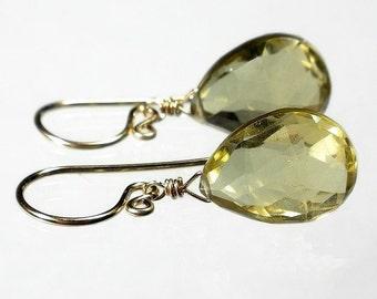 Lemon Quartz Earring, Yellow Drop Earring, Briolette Earring