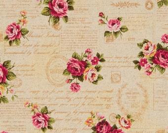 Cosmo Cotton Linen Fabric Vintage Postcard Images AP51303-1A on Beige