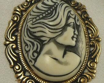 Big Lady Cameo Pendant Necklace Black & Ivory Plastic