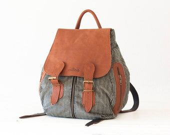 CLEARANCE Backpack in Black corduroy and brown leather, rucksack back bag everyday backpack woman back bag purse - Artemis backpack