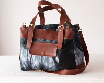 SALE 15% Over shouldler work bag in shibori black cotton and brown leather, laptop large crossbody work bag - Ophelia bag