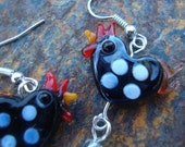 Black chicken earrings with fried eggs, barnyard animal jewelry, farm animal, hen, gift