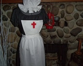 Girls Clara Barton Historical Theme Colonial Costume Civil War Mop Hat and Pinner Apron Only