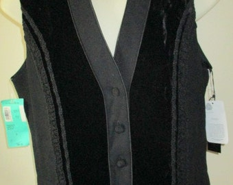 NORDSTROM black wool crepe and silk & rayon velvet dress vest with decorative trim SMALL with tags