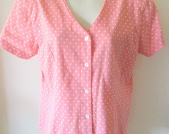 LIZSPORT ladies womens rose and white polka dot blouse shirt new without tags 100% cotton XL short sleeve