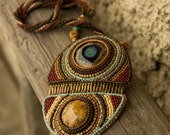 Bead Embroidered Necklace with the Fossil of a Sea Urchin